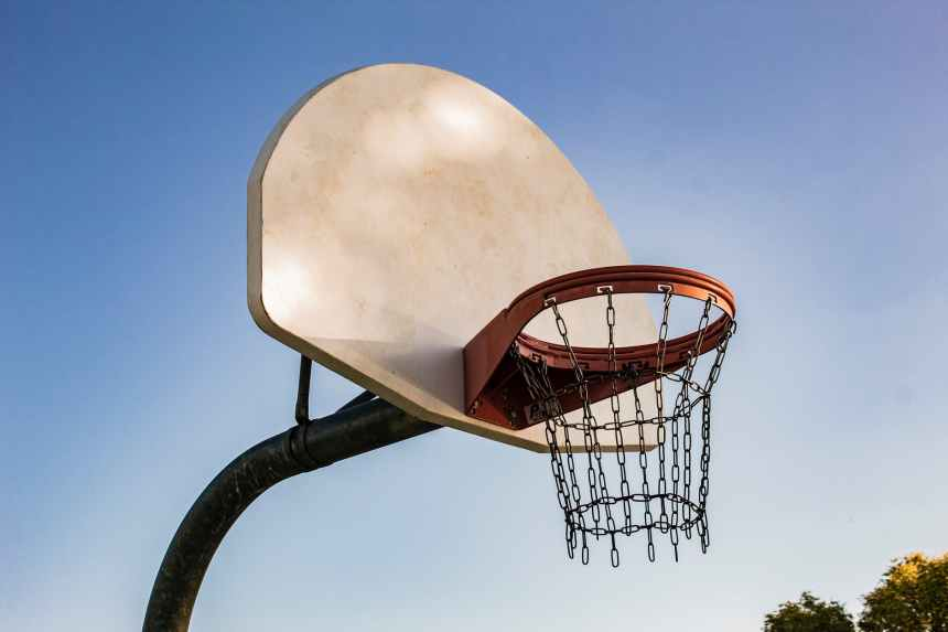 basketball hoops under clear blue sky